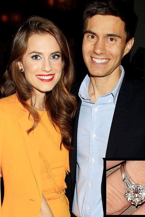 Allison Williams and Ricky Van Veen - The Most Breathtaking Engagement Rings Ever - Southernliving. Ricky Van Veen proposed to actress Allison Williams in 2014 with a stunning cushion-cut ring that appears to be flanked by multiple diamonds on each side. The couple wed in September 2015.