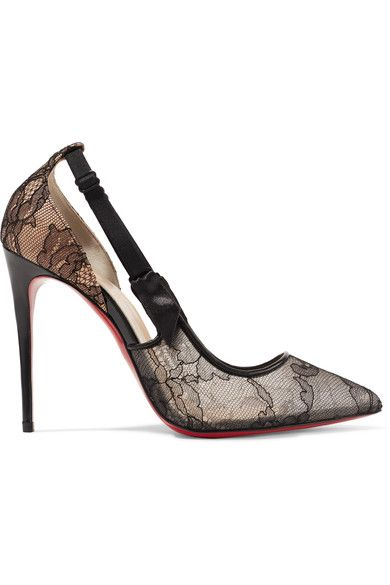 Christian Louboutin | Hot Jeanbi 100 satin and patent leather-trimmed lace pumps | NET-A-PORTER.COM