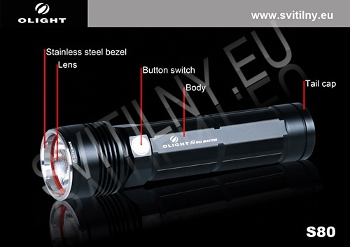 Vlastnosti nabíjecí svítilny Olight S80 Baton