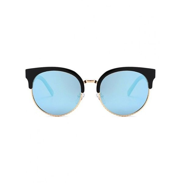 Unique Round Circle Cat Eye Sunglasses Black+blue (96 PEN) ❤ liked on Polyvore featuring accessories, eyewear, sunglasses, zaful, round cateye sunglasses, blue round sunglasses, rounded sunglasses, circular glasses and circle glasses