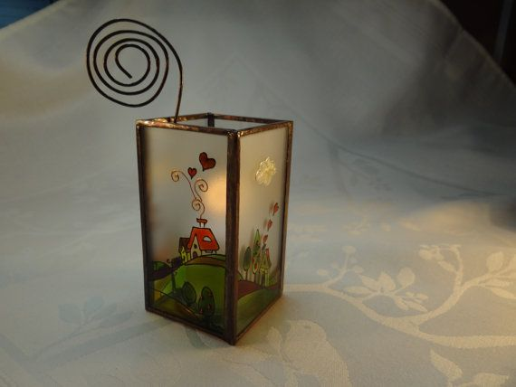 Farm Painted Glass Candle Holder