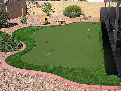 Arizona backyard synthetic grass putting green