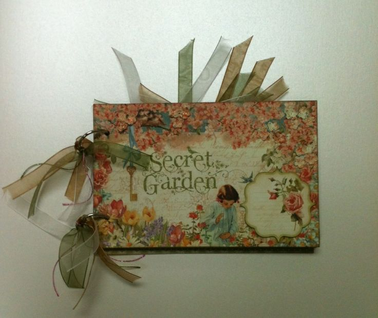Book made out of Graphic 45's 8x8 Secret Garden paper pad.