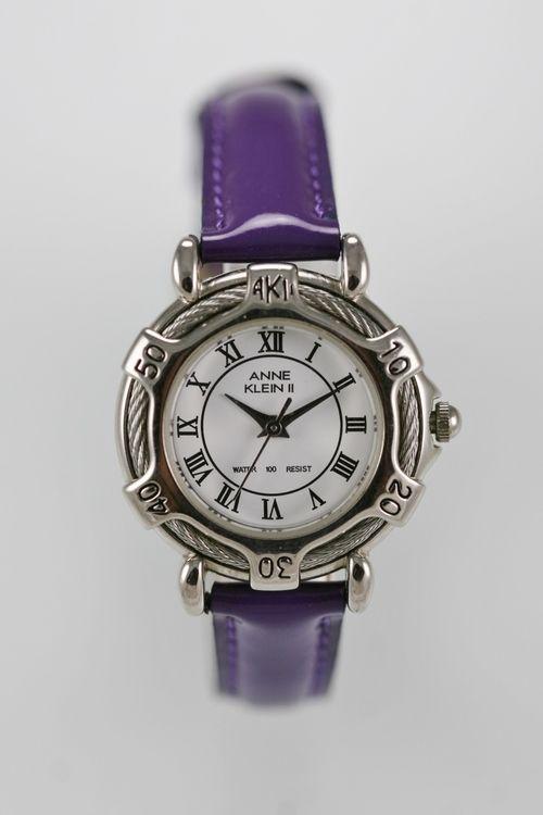 Anne Klein Women Watch White Stainless Silver Water Re 30m Leather Purple Quartz