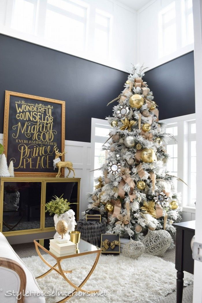 Love this metallic Christmas tree and that beautiful chalkboard sign over the mantel