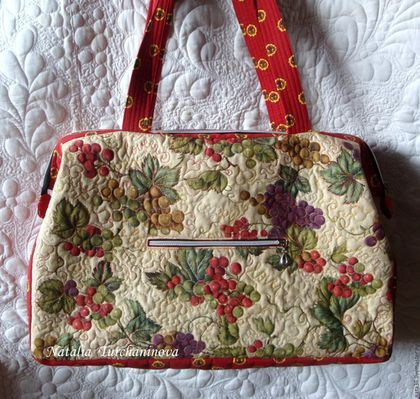 Большая, текстильная, стеганая сумка  `Тосканский Полдень ` дл- 50 см, выс.- 32 см, шир. - 17см,  Путешествуйте красиво ! Цена - 6000 руб