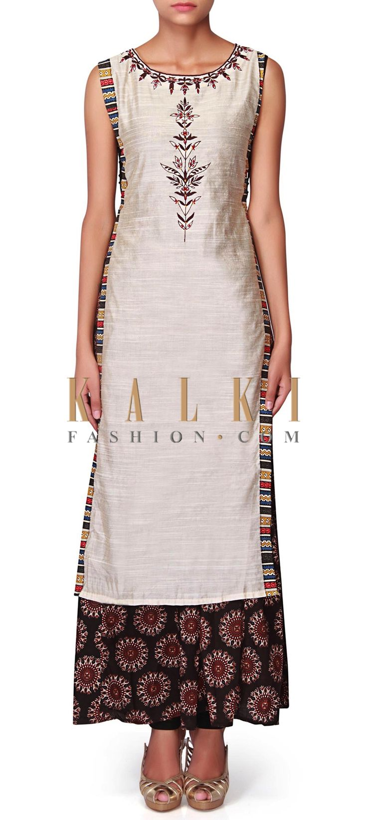 Cream straight suit with brown printed slip dress only on Kalki