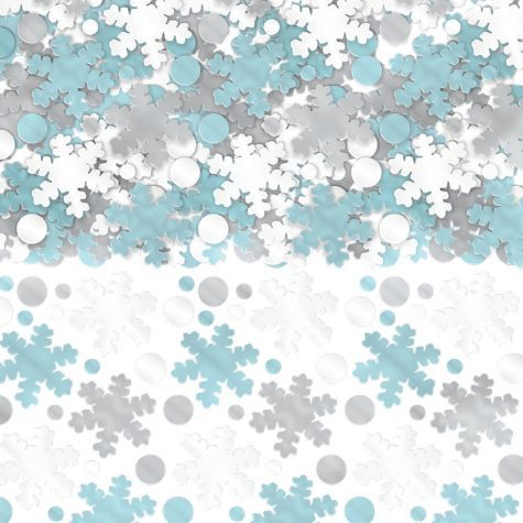 Just to remember the idea- sprinkle snowflake confetti on the food table.