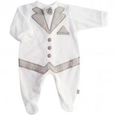 Pyjama garçon effet smoking en velours blanc et gris perle