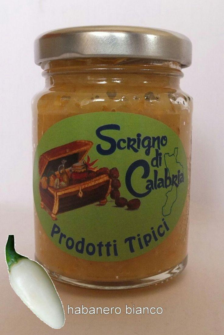 Crema di peperoncino coltivato in calabria senza conservanti habanero bianco