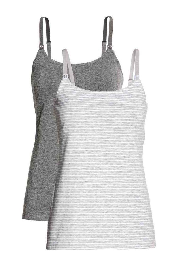 MAMA 2-pack nursing tops - Gray/striped - Ladies | H&M CA 1