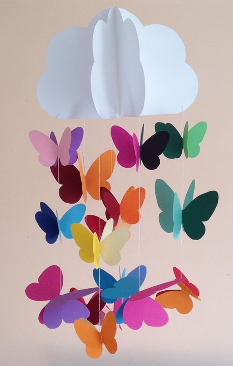 Baby crib mobile, nursery mobile, decorative hanging for parties, nursery decoration with cloud and butterflies sewn with colored paper, 3D