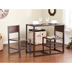 Espresso 3 Piece Dining Room Kitchen Breakfast Nook Set Table W Chairs Dorm Bar