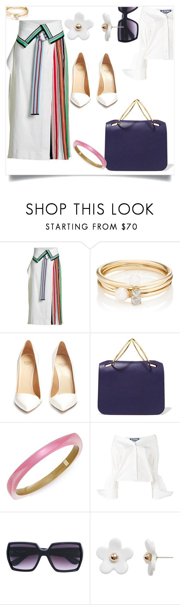 """""""Pleated grosgrain-trimmed linen-blend and georgette skirt"""" by angy-beurskens ❤ liked on Polyvore featuring Diane Von Furstenberg, Loren Stewart, Francesco Russo, Roksanda, Alexis Bittar, Jacquemus and Poporcelain"""