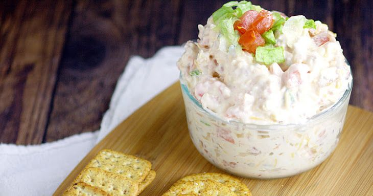 BLT Dip Recipe Appetizers with cream cheese, mayonnaise, bacon, large tomato, cheddar cheese, green onions, crackers