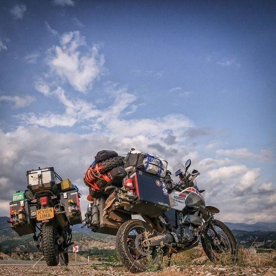 Yamaha XT 660 Z Tenere and Triumph Tiger 800 XCX. Beautiful Nature of Turkey. Motorcycle Adventure Travel Rider. VISORHEAD.