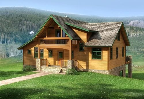 Rendering two story cedar and stone home log homes for Stone and cedar homes