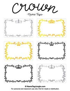 Free printable crown name tags. The template can also be used for creating items like labels and place cards. Download the PDF at http://nametagjungle.com/name-tag/crown/
