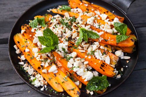 Grilled Carrots with Feta and Mint