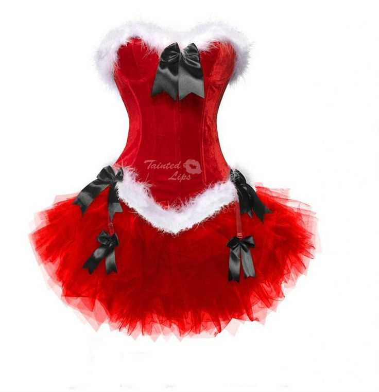 Miss Santa Outfit Corset & Tutu Lady Womens Fancy Dress Christmas Costume + Hat | eBay