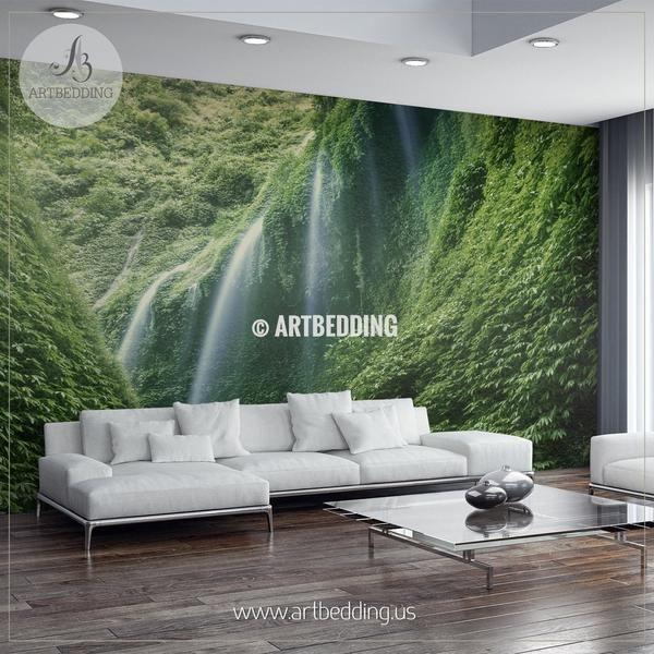 Indonesian Forest Waterfalls Wall Mural Self Adhesive Peel Stick Wall Mural Waterfall Wall Photo Wallpaper Bedroom Zen Interiors