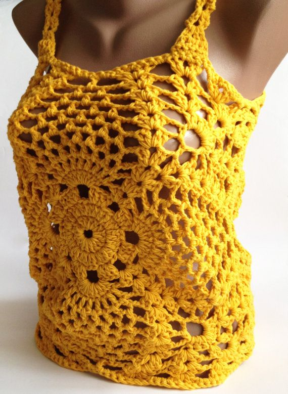Chunky crochet top/ Yellow crochet top/ Sexy by ElenaVorobey