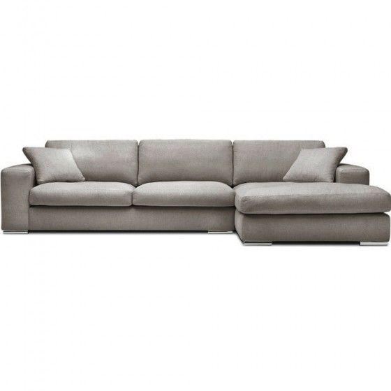 Canapé d'angle tissu Bianca gris clair
