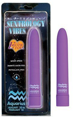 Sextrology Vibes Miss Aquarius Multi-Speed Smooth Satin Feel Vibrator for Women by Erotic Toy Brokers. $12.00. Sextrology Vibes is your chance to get the most personalized Satin Smooth and Ultimate Vibrator ever made! This waterproof gem is multi-speed and available in two stunning colors; Pink and Purple. The power on the Sextrology Vibe can be controlled by you. Find your perfect speed to make you feel fantastic! All you need is two AA batteries(Not Included). Sextrology Vibe...