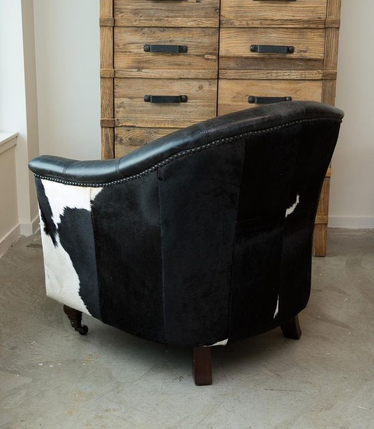Leather Chairs with Cowhide Rug | Cowhide Armchair | Cowhide Tub Chair | Leather Cowhide Feature Chair