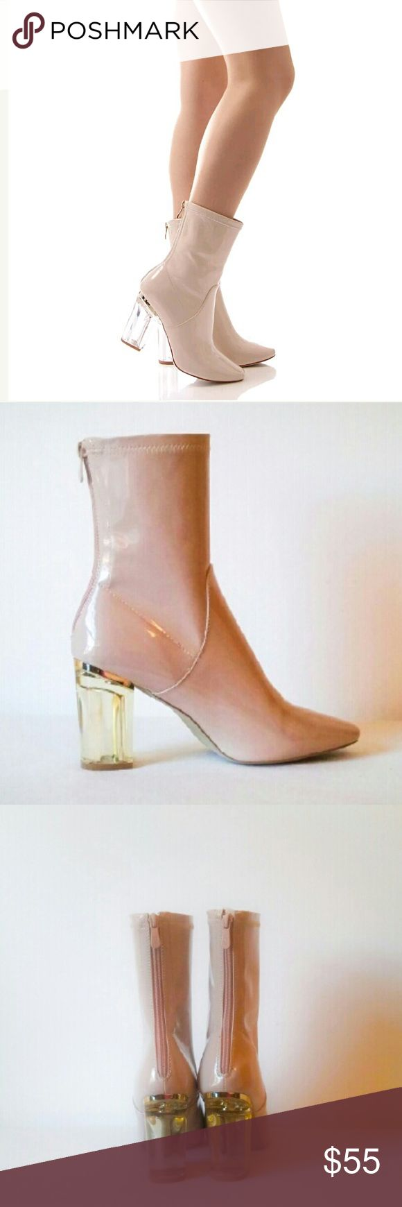 """New! Clear Heeled Ankle Boots Clear Heel Size 8 New with tags! These are the gorgeous lucite heel booties, lucite heel ankle boots clear heel """"Perspex Heels"""" made famous by the designer Christian Dior clear heel boot! Perfect for holiday season! An awesome style statement in nude patent leather that matches everything! These boots feature patent construction, closed toe, sleek curvy fit, back zipper closure and amazing clear block heels! Brand new excellent condition with a barely noticeable…"""
