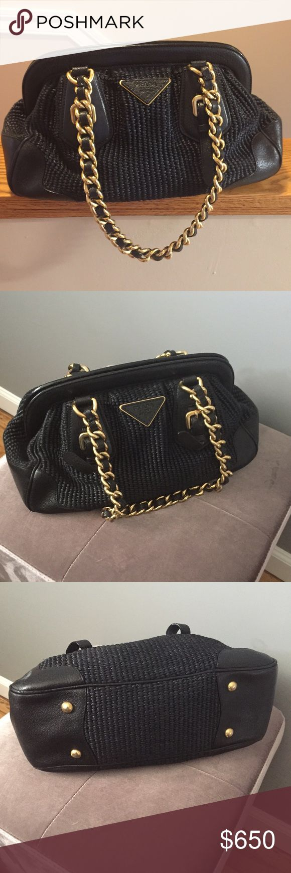 Firm price! AUTHENTIC Prada Handbag! Great Buy! This is a GREAT PRICE ! And final price cut! It's  is a great classic Prada handbag! Will never go out of style! Black leather and wicker with gold hardware. Has inside pocket and zipper compartment inside. Only reason I'm selling is to make room! I love this bag! Great condition! Own it for a fraction of the price! Prada Bags Shoulder Bags