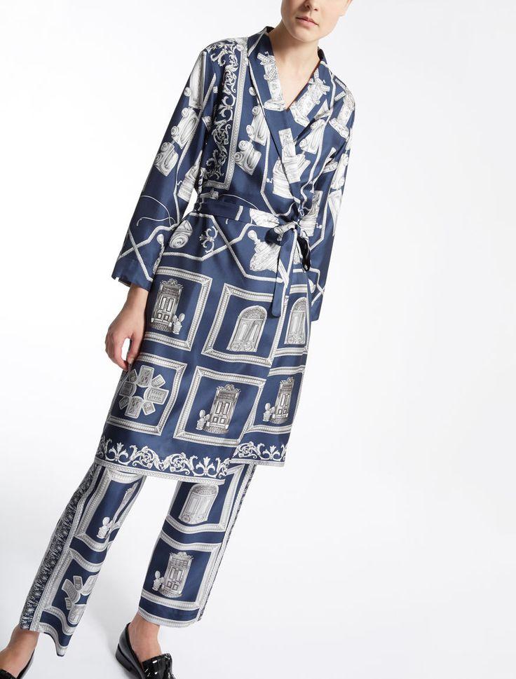Max Mara STIRIA blu notte: Vestaglia in twill di seta. 465,00