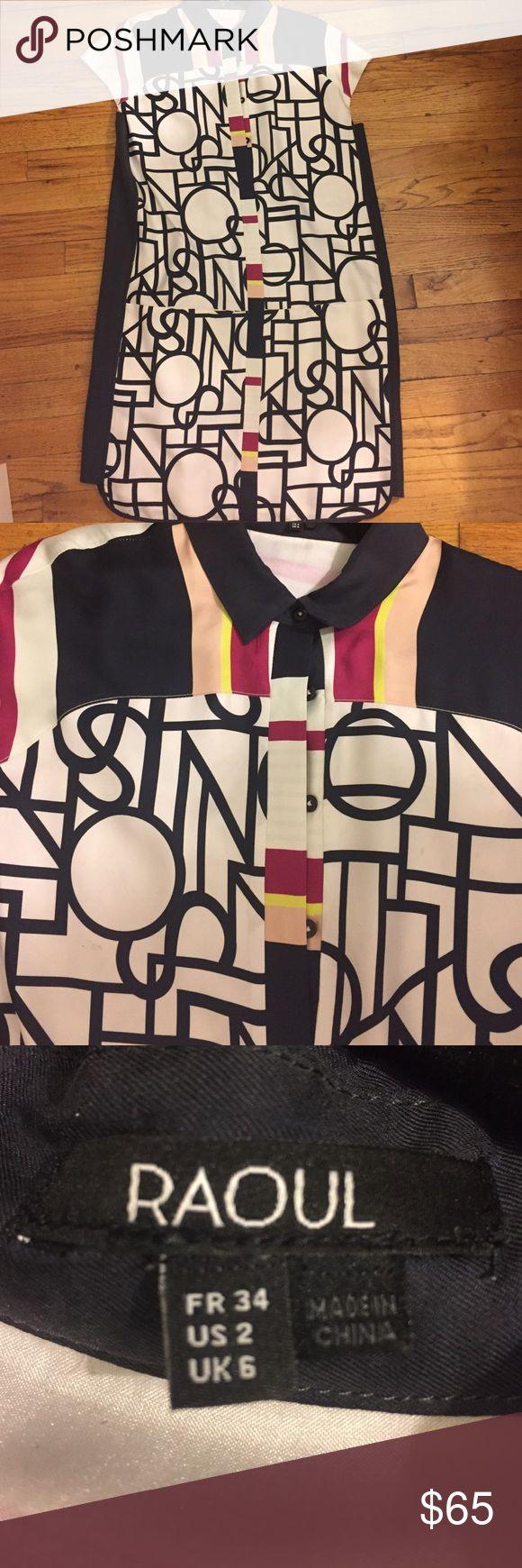 Raoul graphic print silk shirt dress Graphic printed silk dress in bright colors Raoul Dresses Midi