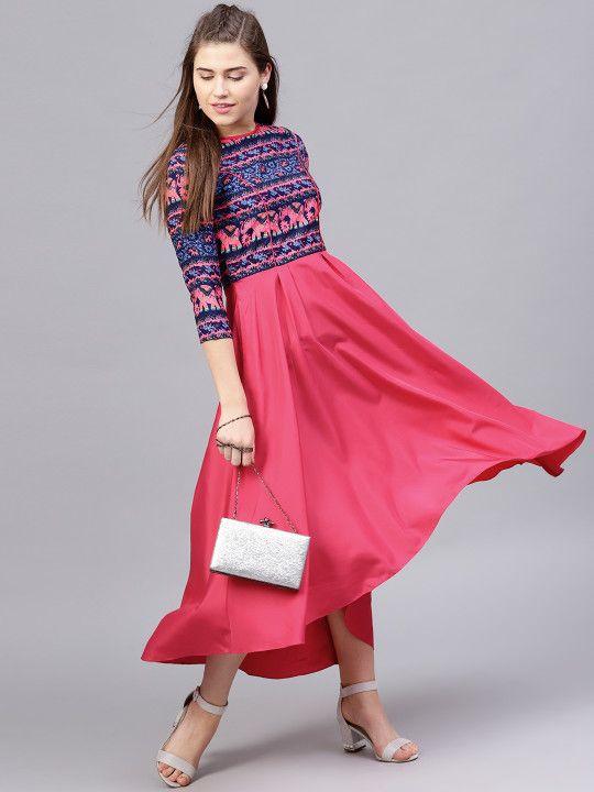 edd1a71571c1 Athena Women Magenta   Blue Printed Maxi Dress -