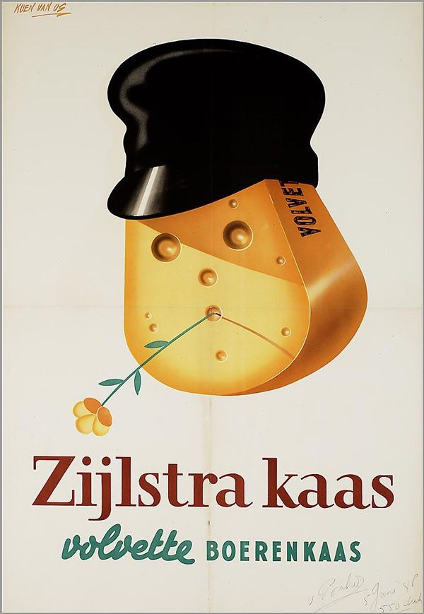 Dutch ad poster for Zijlstra full-fat cottage cheese - 1948-49 - artist Koen van Os.