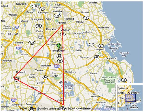 Bridgewater Triangle - Location of the Mothman & other strange occurrences.