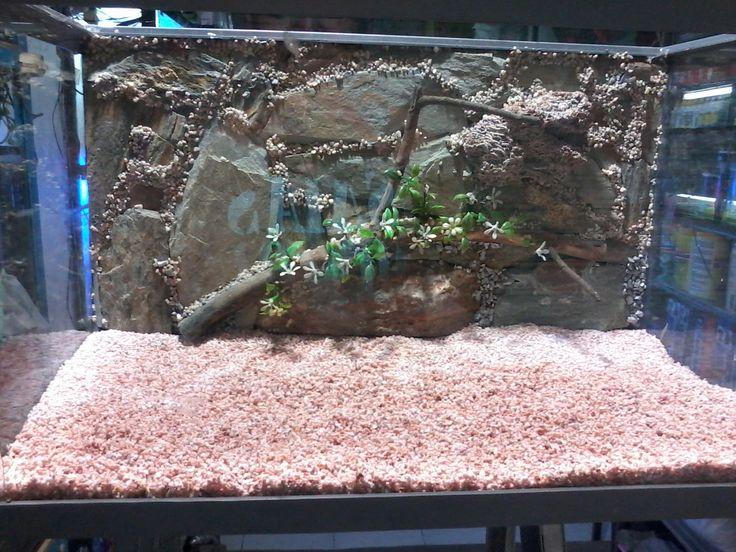 peceras con fondos de piedras naturales