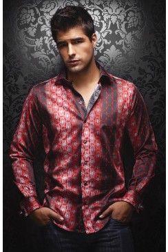 Find this AU NOIR Ambrosia red men's shirt at www.mensdressshirts.ca