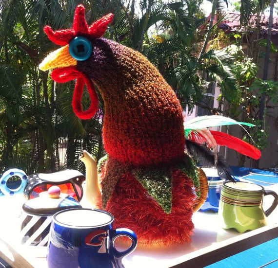Hand made Rooster Tea Cosy to fit 6 cup teapot by TheCosyCoopNT