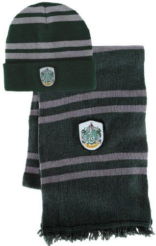 Bundle - 2 items: Harry Potter Slytherin Beanie Hat and Wool Scarf Set @ niftywarehouse.com