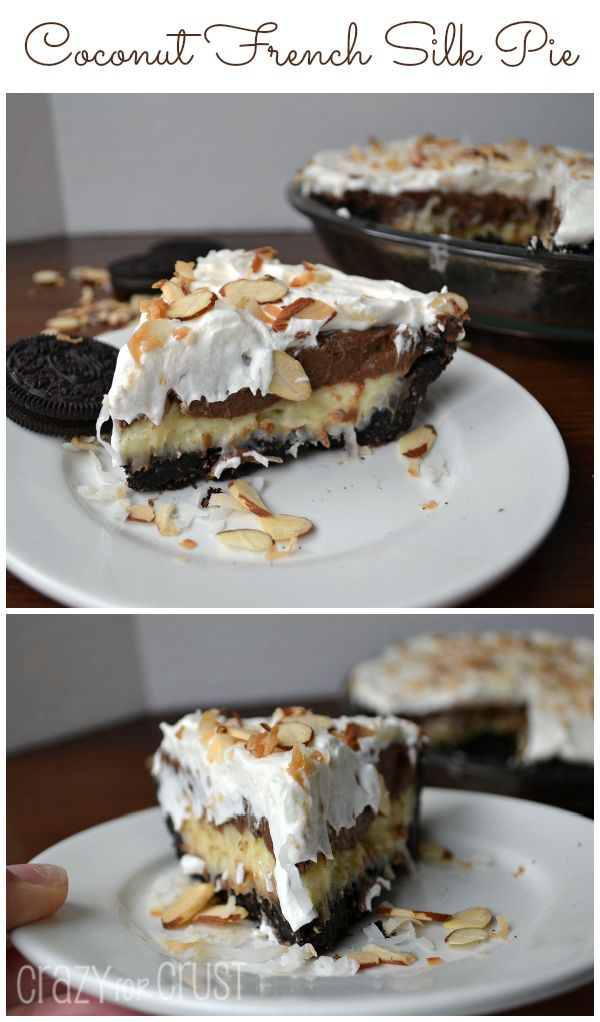 Coconut French Silk Pie by Crazy for Crust. A blend of two favorites: Coconut Cream and French Silk, with an Oreo crust! #pie #coconut #chocolate