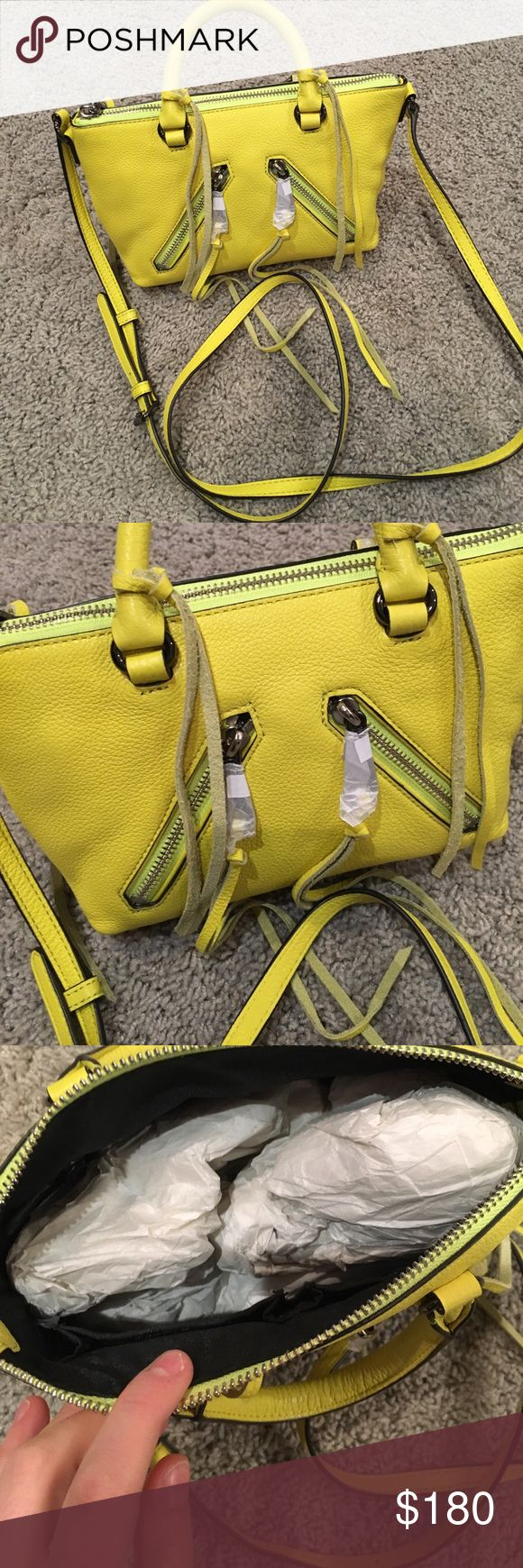 Rebecca Minkoff Mini Moto Crossbody Handbag Bright yellow Rebecca minkcoff crossbody handbag perfect for summer time! Very stylish and fun! Brand new and never used with paper still inside! 3 inside pockets and a adjustable strap! Rebecca Minkoff Bags Crossbody Bags