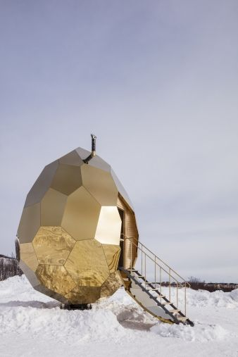 The egg shape seeks to symbolise rebirth and new opportunities at the start of Kiruna's urban transformation