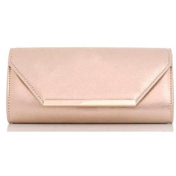 Dorothy Perkins **Quiz Rose Gold Clutch Bag (293.570 IDR) ❤ liked on Polyvore featuring bags, handbags, clutches, purses, rose gold, pink clutches, rose gold handbag, rose gold purse, rose gold clutches and pink purse