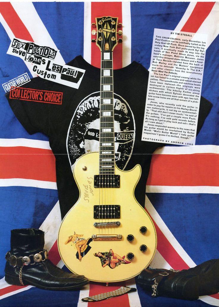 Steve Jones Les Paul Custom Guitar Poster - Sex Pistols - Steve Jones Of Sex Pistols - Retro Music Poster - Music Gift - Music Room Decor by MusicSellerz on Etsy
