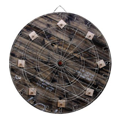 End of Industrial Wire Spool Dartboard With Darts - rustic gifts ideas customize personalize