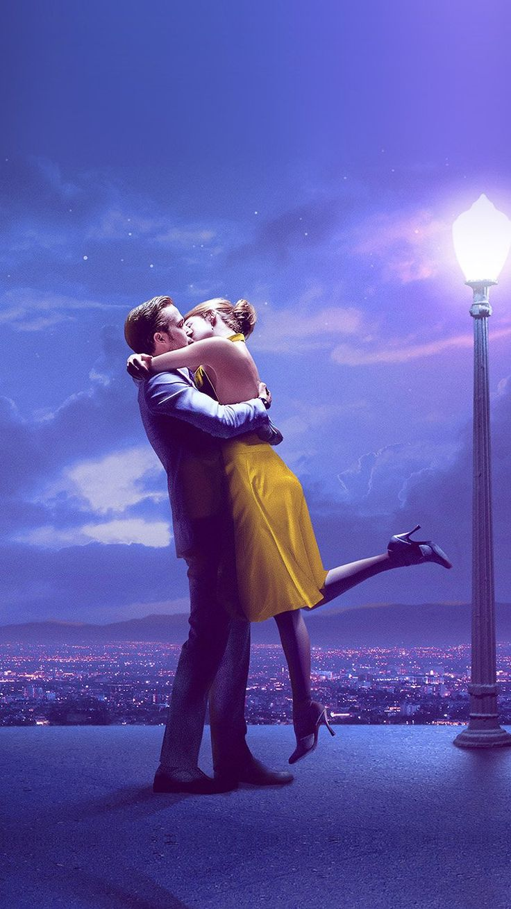 LALALAND FILM LOVE ILLUSTRATION ART PURPLE WALLPAPER HD IPHONE