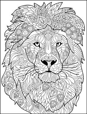 Anti Stress Kleurplaten Dieren 1 Lion Head 293x385 Lion Coloring Pages Animal Coloring