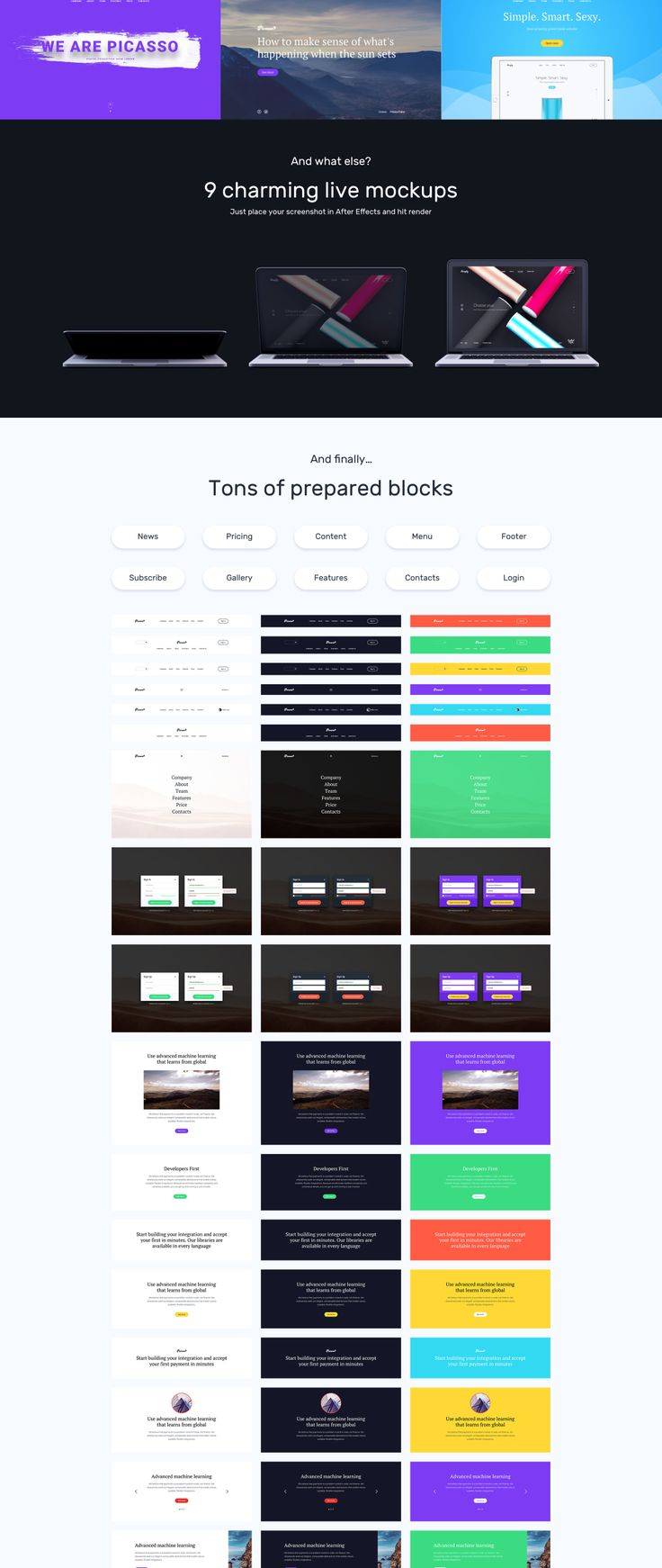 Picasso is a clean Landing Page UI kit designed for Sketch & Photoshop. It is suitable for business and digital products, includes 225 prepared design elements for all occasions — 18 hero templates, contacts, features, footers and much more. Also, Picasso includes 9 live mockups (AEP files) with replaceable in one click screenshots to present in elegant way your app or website.