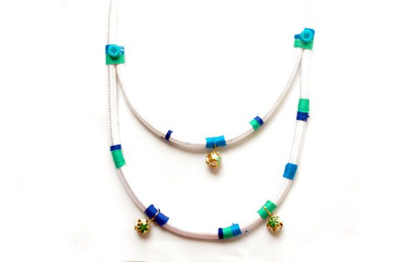 summer statement necklace white rope necklace free shipping blue and white summer necklace flower balls